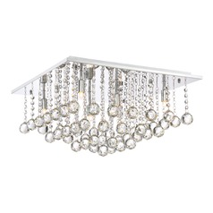Quoizel Lighting Bordeaux with Clear Crystal Polished Chrome Flushmount Light