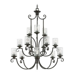 Traditional Seeded Glass Black Chandelier 3 Tier 15Lt by Hinkley Lighting