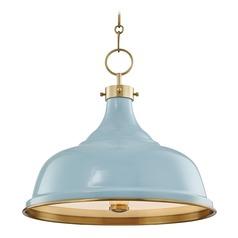 Hudson Valley Aged Brass Pendant Light with Blue Bird Metal Shade