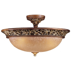 Semi-Flushmount Light with Beige / Cream Glass in Florence Patina Finish