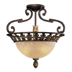 Semi-Flushmount Light with Beige / Cream Glass in Golden Bronze Finish
