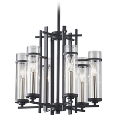 Modern Chandelier with Clear Glass in Antique Forged Iron / Brushed Steel Finish