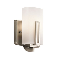Kichler Lighting Kichler Modern Sconce Wall Light with White Glass in Pewter Finish 45224AP