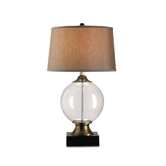 Table Lamp with Silver Shade in Blown Glass/black Finish