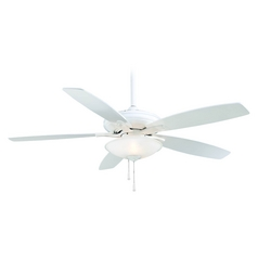 52-Inch Ceiling Fan with Light with White Glass in White Finish