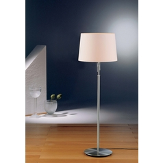 Holtkoetter Modern Floor Lamp with White Shades in Satin Nickel Finish