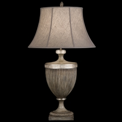 Fine Art Lamps Villa Vista Hand Painted Driftwood with Silver Leafed Accents Table Lamp with Bell Sh
