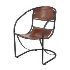 Retro Round Back Leather Lounger