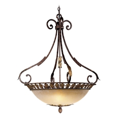 Pendant Light with Beige / Cream Glass in Golden Bronze Finish