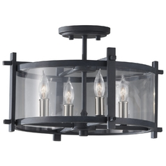 Modern Semi-Flushmount Light with Clear Glass in Antique Forged Iron / Brushed Steel Finish