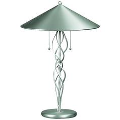 Lite Source Lighting Torsion Satin Steel Table Lamp with Conical Shade
