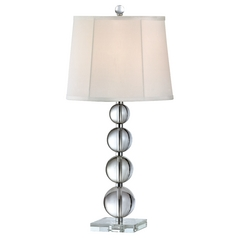 Symphony Crystal Orb Table Lamp with White Silk Shade