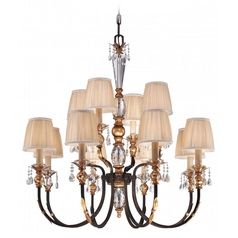 Crystal Chandelier with Pleated Shades in Bronze Finish