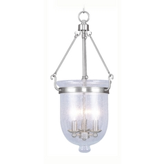 Seeded Glass Pendant Light Brushed Nickel Livex Lighting