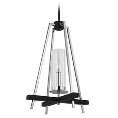 Feiss Lighting Broderick Textured Black Pendant Light with Cylindrical Shade