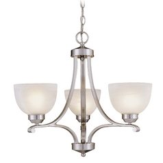 Minka Lighting Modern Chandelier with Beige / Cream Glass in Brushed Nickel Finish 1423-84