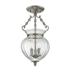 Semi-Flushmount Light with Clear Glass in Historic Nickel Finish