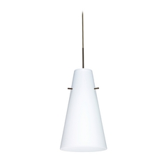 Modern Pendant Light with White Glass in Bronze Finish