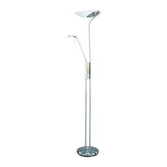 Modern Torchiere Lamp with White Glass in Polished Steel Finish