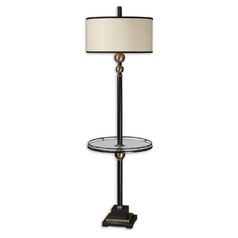 Gallery Tray Lamp with White Shade in Rustic Black Finish
