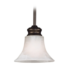 Kenroy Home Lighting Mini-Pendant Light with Alabaster Glass 91397BBZ