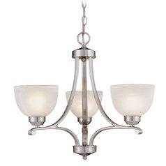 3-Lt Chandelier in Brushed Nickel Finish - Etched Marble Glass