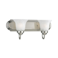 Progress Bathroom Light with Alabaster Glass in Brushed Nickel Finish
