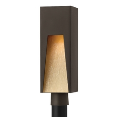 Modern LED Post Light with Amber Glass in Bronze Finish
