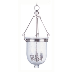 Livex Lighting Jefferson Polished Nickel Pendant Light with Bowl / Dome Shade