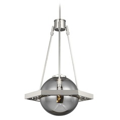 Feiss Lighting Harper Polished Nickel Pendant Light with Globe Shade