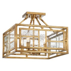 Edgemont Park Pandora Gold Leaf Semi-Flushmount Light