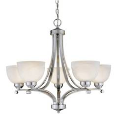 5-Lt Chandelier in Brushed Nickel Finish - Etched Marble Glass