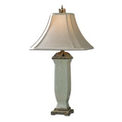 Table Lamp with Beige / Cream Shade in Light Blue / Grey Finish