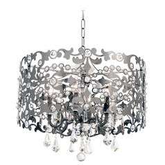 Bizet 6 Light Chandelier w/ Swarovski Elements Crystal w/ Black Pearl