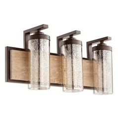 Mercury Glass Bathroom Light Oiled Bronze Quorum Lighting