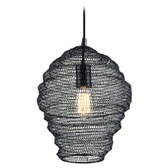 Troy Lighting Wabi Sabi Black Pendant Light with Oblong Shade