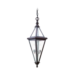 Outdoor Hanging Light with Clear Glass in Old Rust Finish