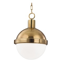 Pendant Light with White Glass in Aged Brass Finish