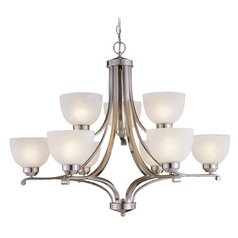 9-Lt Chandelier in Brushed Nickel Finish - Etched Marble Glass