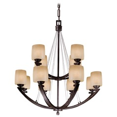 Minka 2-Tier 12-Light Chandelier in Iron Oxide