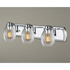 Industrial 3-Light Vanity Light with Clear Glass in Chrome