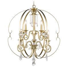 Golden Lighting Ella White Gold Crystal Chandelier