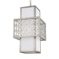 Feiss Lighting Kenny Sunrise Silver Mini-Pendant Light with Rectangle Shade