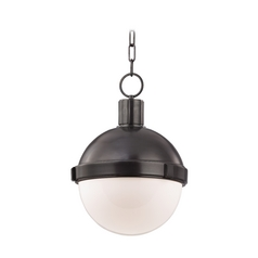 Pendant Light with White Glass in Old Bronze Finish