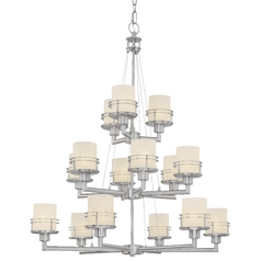 Satin Nickel Chandelier with 15-Lights and Three Tiers