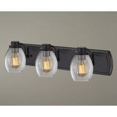 Industrial 3-Light Bath Wall Light with Clear Glass in Bronze