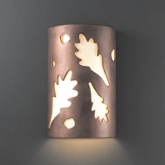 Outdoor Wall Light with White in Antique Copper Finish