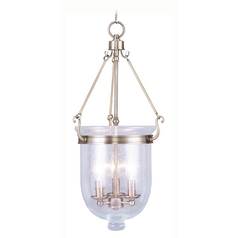 Seeded Glass Pendant Light Brass Livex Lighting