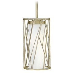 Hinkley Lighting Nest Silver Leaf Mini-Pendant Light with Cylindrical Shade