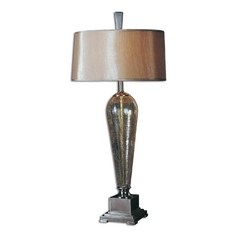 Modern Table Lamp with Beige / Cream Shade in Brushed Nickel Finish